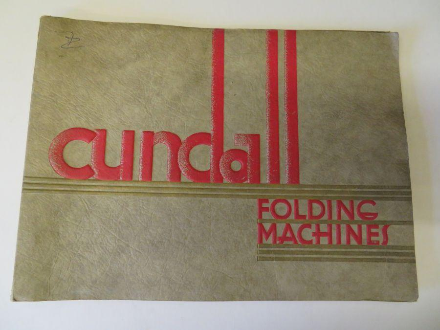 Cundall Folding Machines - Catalogue A 34: Hitchin Road, Luton, Beds n/a Very Good Softcover Large landscape format with very substancial soft card covers. 40pp including photo of demonstration office, as well as the machines themselves with d