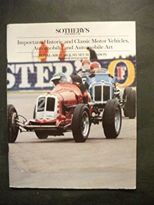 Sotheby's Auction Catalogue: Important Historic and Classic Motor Vehicles, Automobilia & Automob...