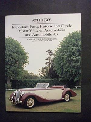 Sotheby's Auction Catalogue:Important, Early, Historic and Classic Motor Vehicles, Automobilia & ...