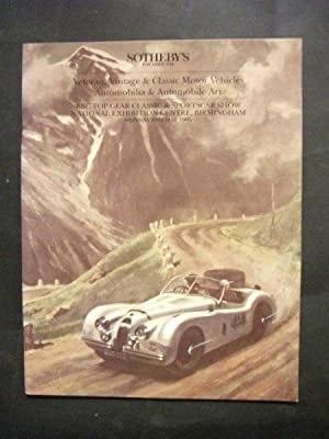 Sotheby's Auction Catalogue: Veteran, Vintage and Classic Motor Vehicles, Automobilia & Automobil...