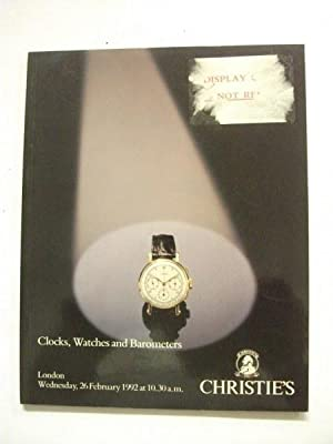 Auction Catalogue: Clocks, Watches and Barometers - London, Wednesday, 26 February 1992