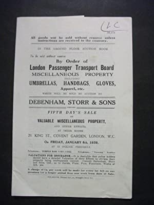 Debenham, Storr & Sons: Fifth Day's Sale of Valuable Miscellaneous Property - January 6th, 1939