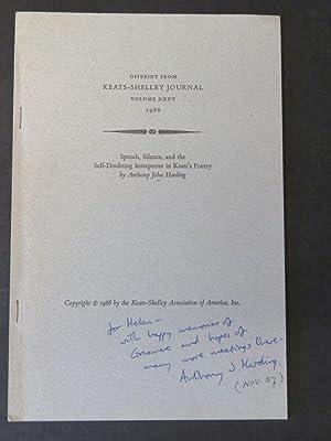 Offprint from Keats-Shelley Journal Vol. XXXV 1986: Anthony John Harding