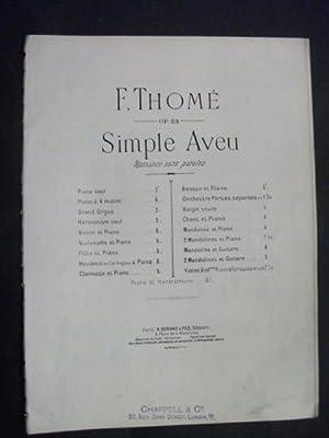 Simple Aveu: Romance sans Paroles: Francis Thomé