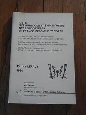Liste systématique et synonymique des lépidoptères de: LERAUT (Patrice)
