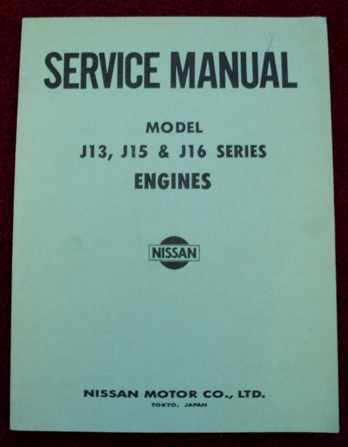 Nissan Service Manual - Engines J13, J15 & J16: Nissan Motor ...