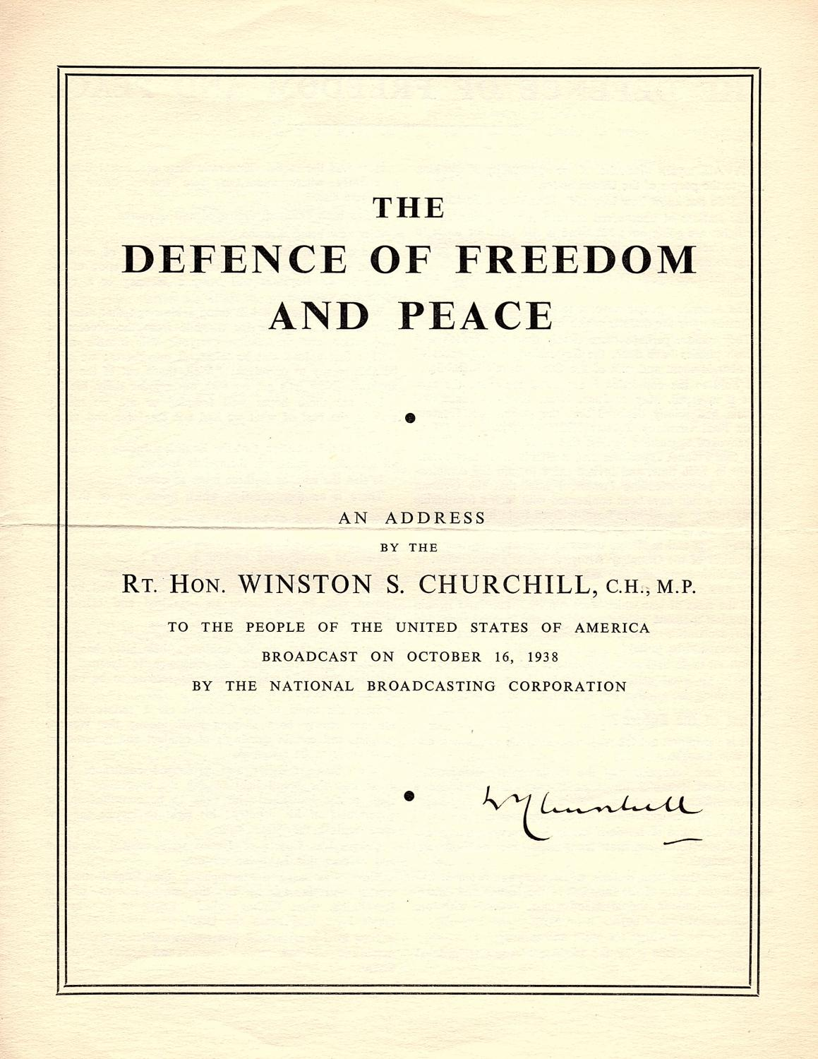 The Defence Of Freedom And Peace Churchills Broadcast Address To