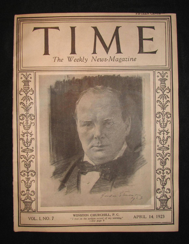 Winston Churchill on the cover of TIME Magazine, 14 April 1923, Vol. I, No.7