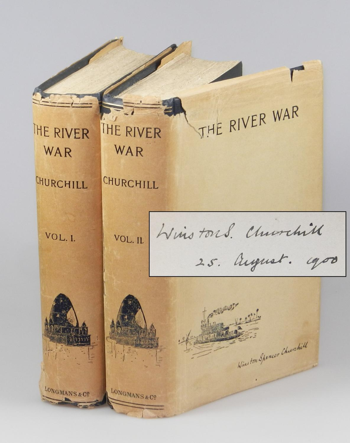The River War, the only jacketed volumes known to exist, signed and dated by Churchill on 25 August...