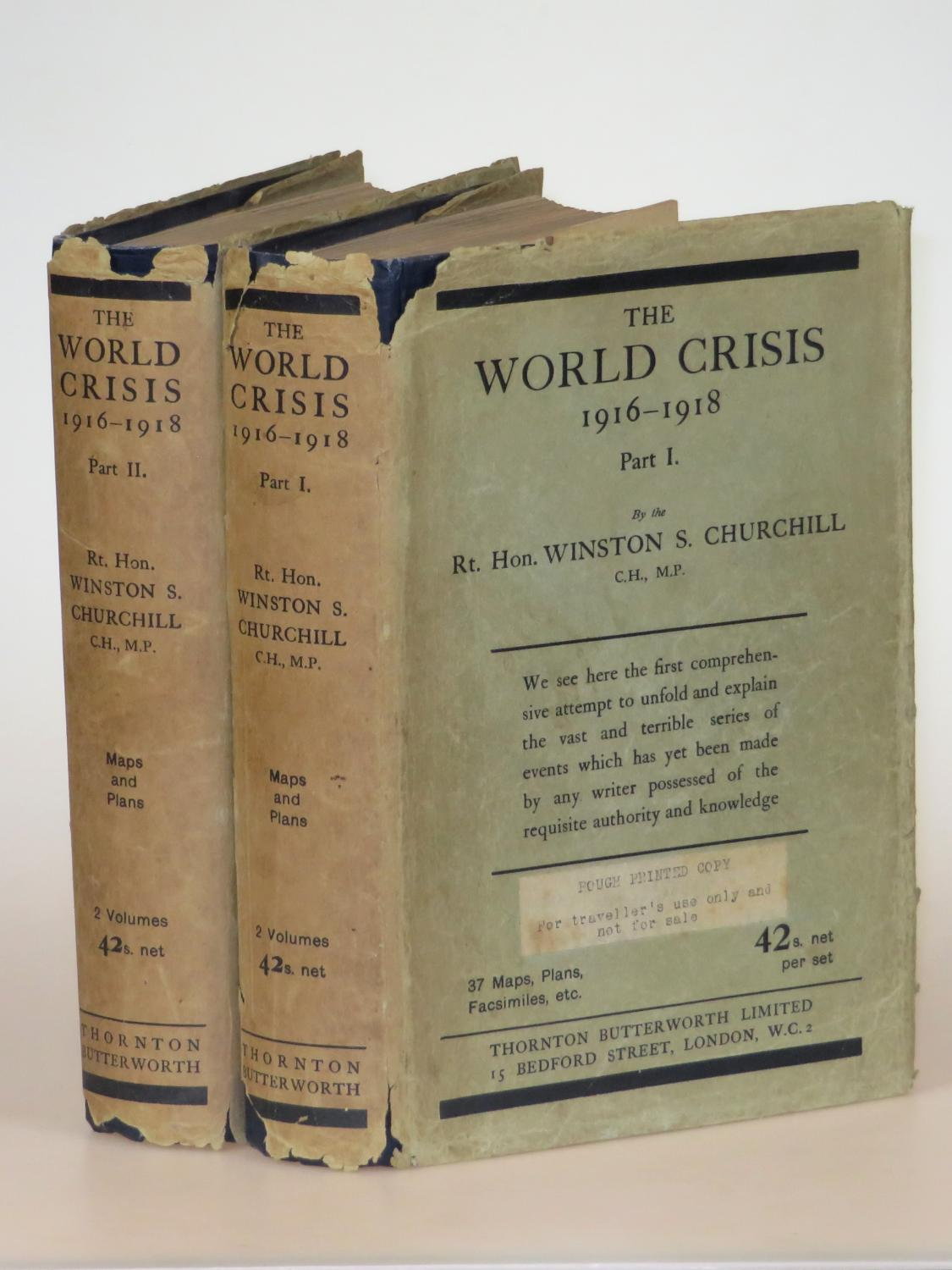 """The World Crisis: 1916-1918, Parts I & II, exceedingly rare, jacketed """"traveller's""""..."""