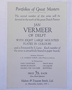 Portfolios of Great Masters: Jan Vermeer of Delft 1632-1675: Foreword by S. Lane