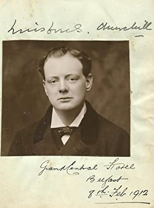 Album photo and signature by Churchill on 8 February 1912 in Belfast, the day of his famous Home ...