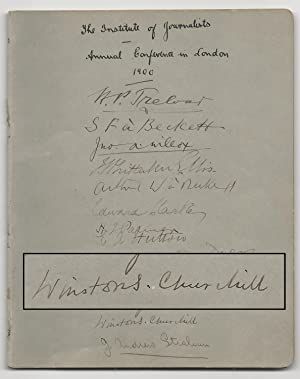Autograph booklet from the September 1900 Institute of Journalists annual conference in London, s...