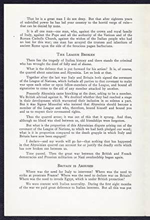 Text of Prime Minister Winston Churchill's speech to the Italian People, December 23rd, 1940: ...