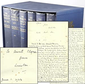 The World Crisis, a remarkable set of British first editions with five dated inscriptions from Ch...