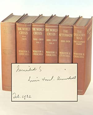 The World Crisis, full set of U.S. first editions inscribed and dated by Churchill