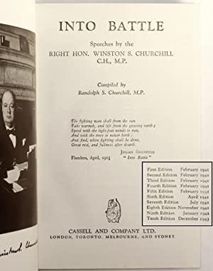 Into Battle, the first volume of Churchill's war speeches, with a wartime inscription from ...