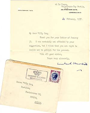 20 February 1957 typed signed letter from Churchill to his friend and paint supplier, Willy Sax, ...