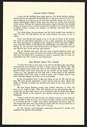 Speech by The Prime Minister Mr. Winston Churchill On War Problems Facing Britain Delivered in the ...
