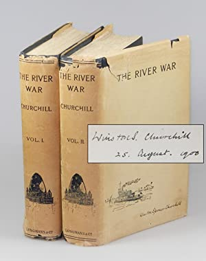 The River War, the only jacketed volumes known to exist, signed and dated by Churchill on 25 Augu...