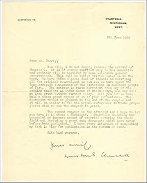 6 June 1932 typed signed letter from Churchill to his publisher, George G. Harrap, submitting the...