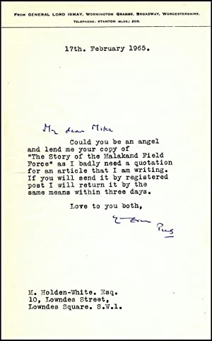 A letter from Winston Churchill's close friend and indispensable wartime Chief of Staff, General ...