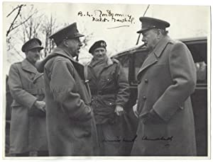 An extraordinary, signed wartime photograph of Prime Minister Winston Churchill, Field Marshal Al...