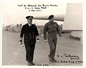 Official Admiralty Second World War photo of General Bernard Law Montgomery and Admiral Sir Bruce...