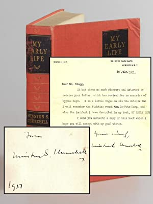 My Early Life, an inscribed presentation copy accompanied by a letter from Churchill dated 10 Jul...