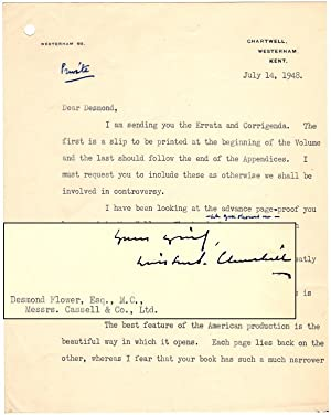 14 July 1948 typed, annotated, and signed letter from Winston S. Churchill to his publisher, Desm...
