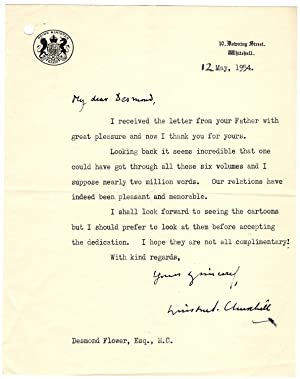 12 May 1954 Typed signed letter on 10 Downing Street stationery with holograph date, salutation, ...