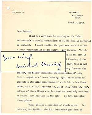 7 March 1949 typed signed letter from Winston S. Churchill to his publisher, Desmond Flower, sarc...