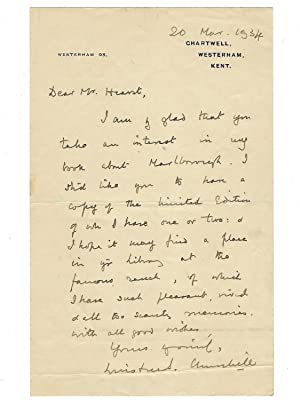 20 March 1934 holograph letter to American publishing mogul William Randolph Hearst from future P...