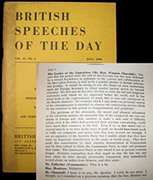 Foreign Affairs, a Speech by Winston Churchill to the House of Commons on 5 June 1946, printed in ...