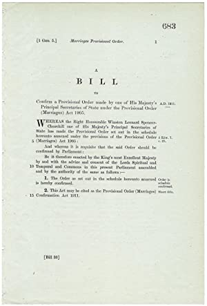Marriages Provisional Order. A Bill to confirm a Provisional Order made by one of His Majesty's P...