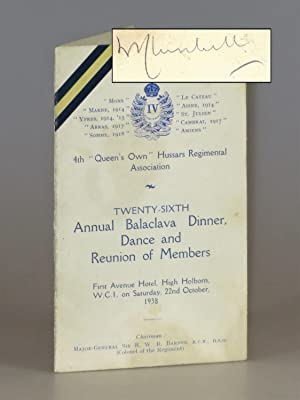 Menu for the twenty-sixth annual Balaclava Dinner, Dance, and Reunion of Members of the 4th 'Quee...