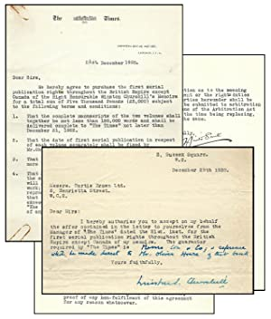Signed and annotated 29 December 1920 typed letter from Winston S. Churchill to his literary agen...
