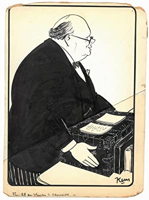 An original, signed pen and ink cartoon of Winston Churchill by Kem