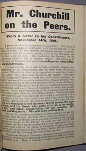 Mr. Churchill on the Peers by Winston S. Churchill, original 1910 leaflet, bound in Pamphlets &...