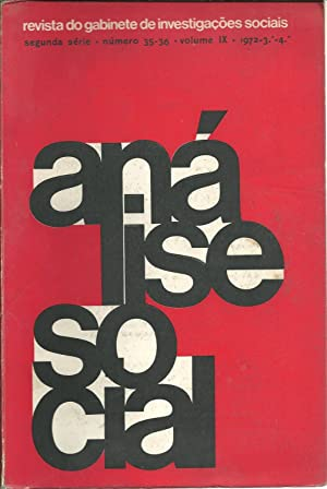 ANÁLISE SOCIAL. Segunda Série. Número 35-36. Volume: REVISTA
