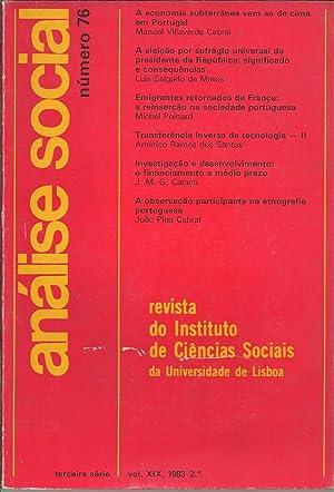 ANÁLISE SOCIAL, VOLUME XIX, Número 76: REVISTA