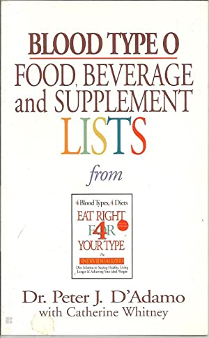BLOOD TYPE O. FOOD, BEVERAGE and SUPPLEMENT LISTS