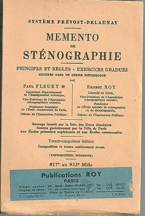 MEMENTO DE STÉNOGRAPHIE: Principes et Règles -: FLEURY, Paul &