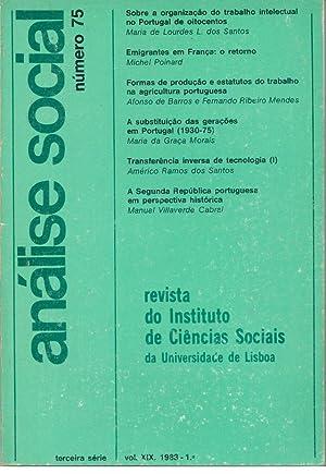 ANÁLISE SOCIAL, VOLUME XIX, Número 75: REVISTA