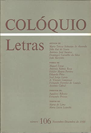 COLÓQUIO LETRAS Nº 106 Novembro - Dezembrol: REVISTA