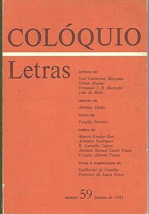 COLÓQUIO LETRAS Nº 59. Janeiro de 1981: REVISTA
