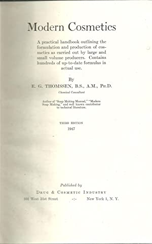 MODERN COSMETICS a practical handbook outlining the: THOMSSEN, E. G.