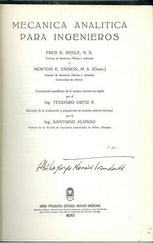 MECANICA ANALITICA PARA INGENIEROS: SEELY & ENSIGN,