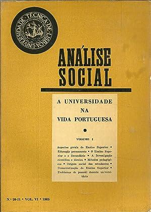 ANÁLISE SOCIAL N 20, 21. Vol. VI: REVISTA