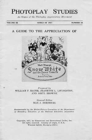 Photoplay Studies. A Guide To The Appreciation Of Walt Disney's Snow White